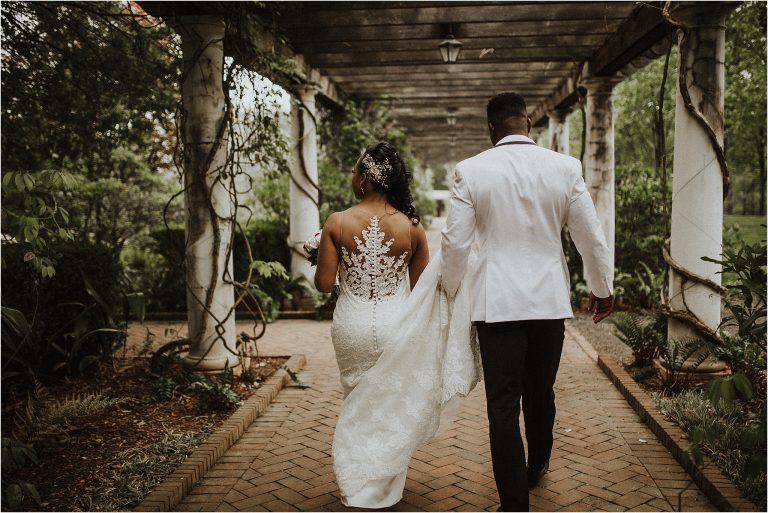 African American Couple get married at Daniel Stowe botanical garden