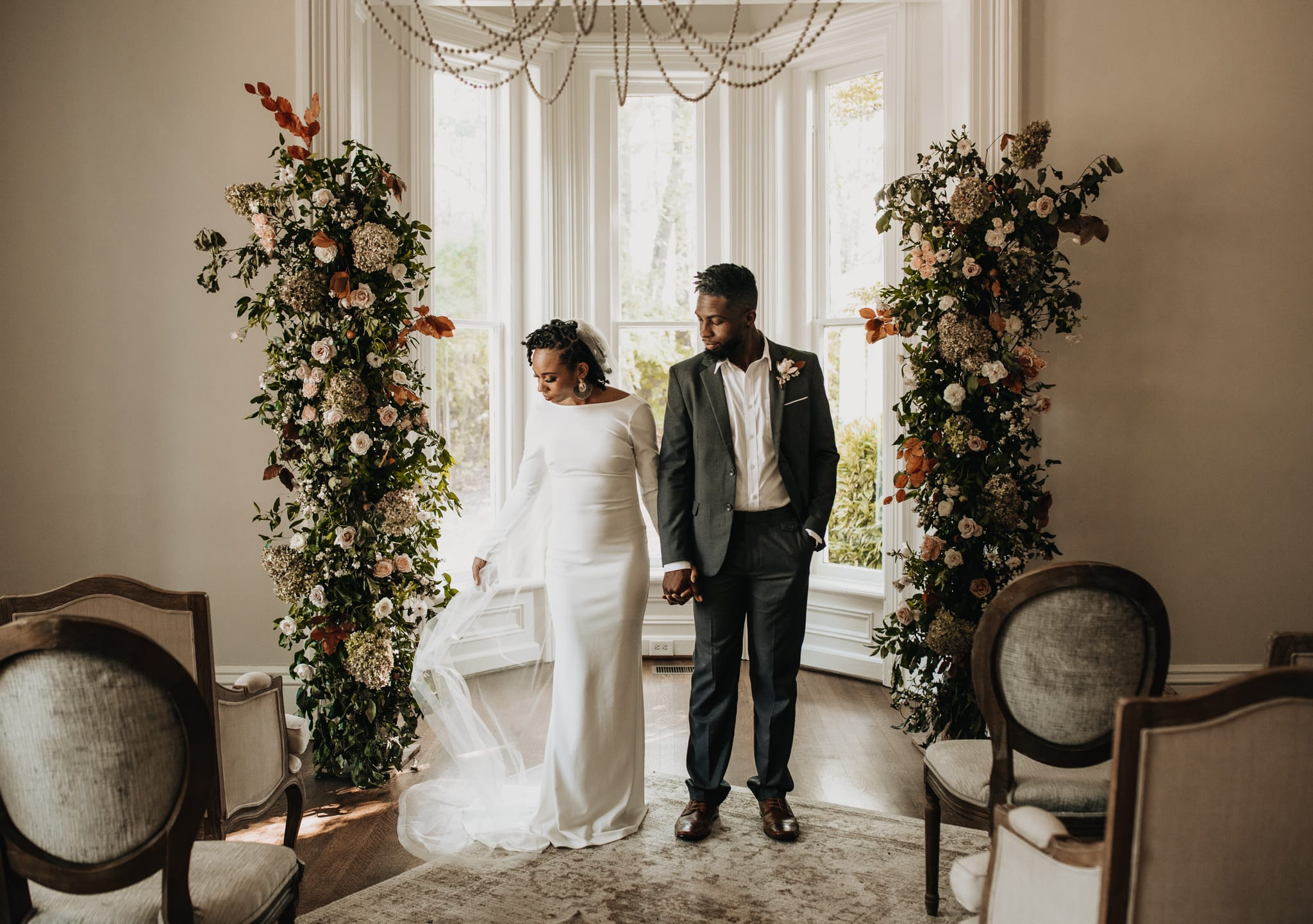 Bride and groom have their elopement wedding at McAlister-Leftwich House in Greensboro, North Carolina