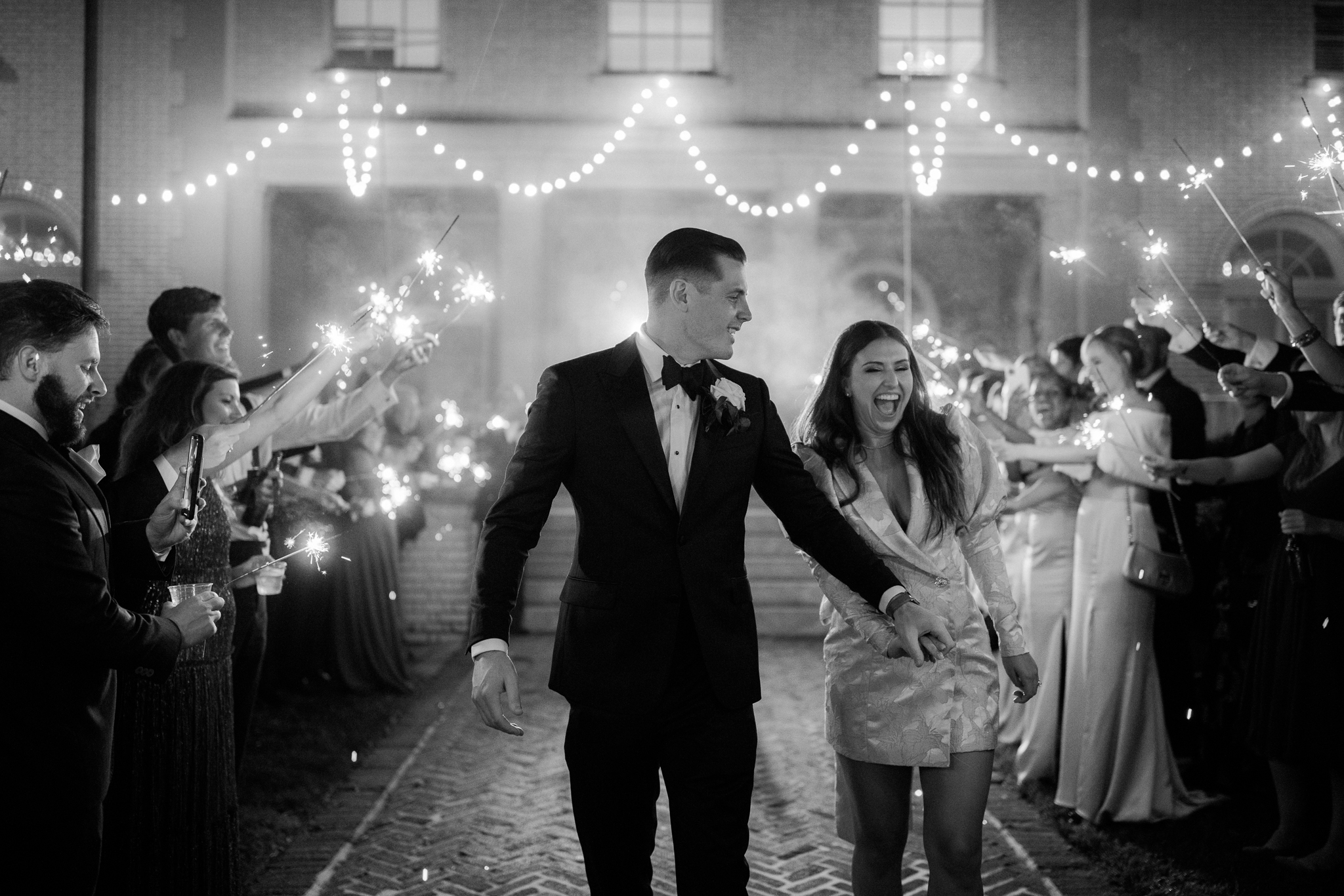Sparkler exit with bride and groom at Separk mansion NC