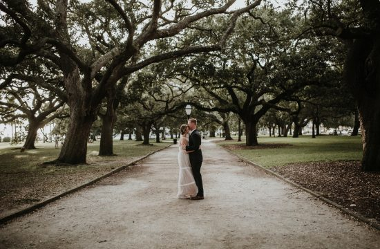 Bride and Groom at White Point Garden in Charleston SC