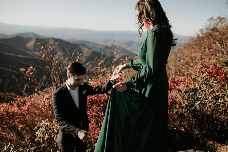 Newly engaged couple at craggy Gardens on the blue ridge parkway