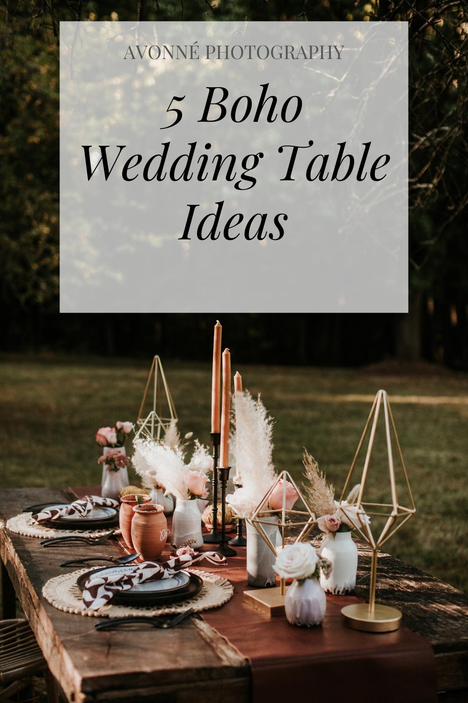 5 wedding boho table ideas
